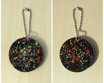 """Colorful Galaxy Abstract Drops Hand Painted 2"""" Wood Keychain"""