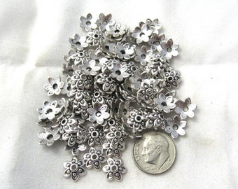 9mm Antique Silver Flower Bead Caps (B306)