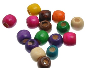 50pc Assorted Color Wooden European Beads (B146c)