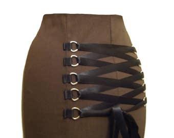 STEAMPUNK BROWN SKIRT, gothic fishtail skirt, full length skirt, corset skirt, victorian full length skirt, long gothic skirt, sz 8 - 32