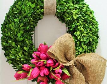 24 inch Spring wreath ,silk tulip wreath ,  boxwood wreath , preserved boxwood wreath  ,front door wreath