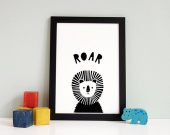 Lion Print, Playroom Decor, Wall Art Print, Lion Roar Print, Nursery Print, Nursery Wall Art, Black And White Print, Monochrome Nursery Art