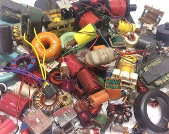 Variety of Vintage Resistors Radio Electronic 100 Parts for Jewelry Making Art Assemblage Mixed Media lot 132