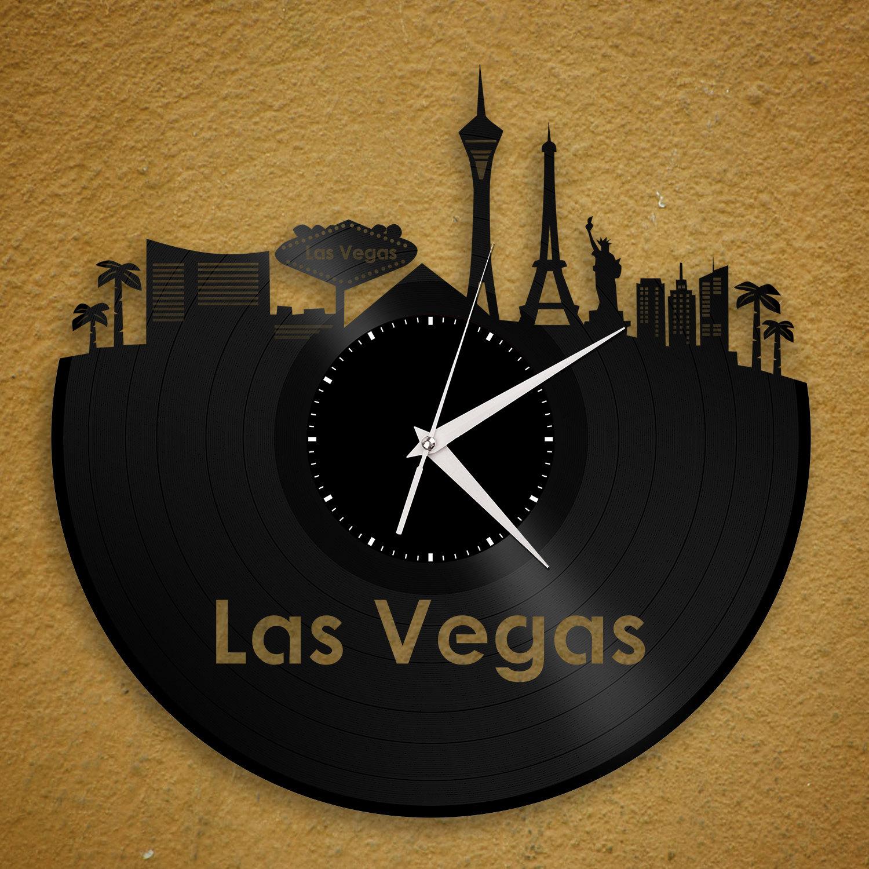 Scrapbook ideas las vegas - Las Vegas Clock Wedding Gift Idea Nevada Cityscape Skyline Wall Decor Desert Casino City Theme Vintage Vinyl Record Decoration Idea