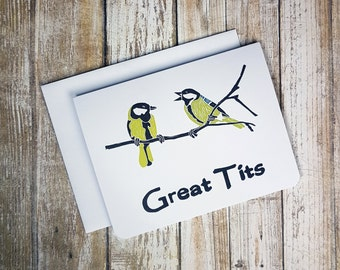GREAT TITS - Funny Any Day Card - Greeting Card - Naughty Card -  Sweary Card -  Bird Card - Boob Card - Funny Card