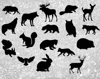 17 Wild Animal silhouettes Clipart.Woodland animals.Forest animals.Digital images.Instant download