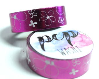 Washi Tape - Foil Washi Tape - Pink Foil Washi Tape - Paper Tape - Planner Washi Tape - Washi - Decorative Tape - Deco Paper Tape - Flowers