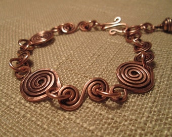 Hand forged antiqued copper bracelet