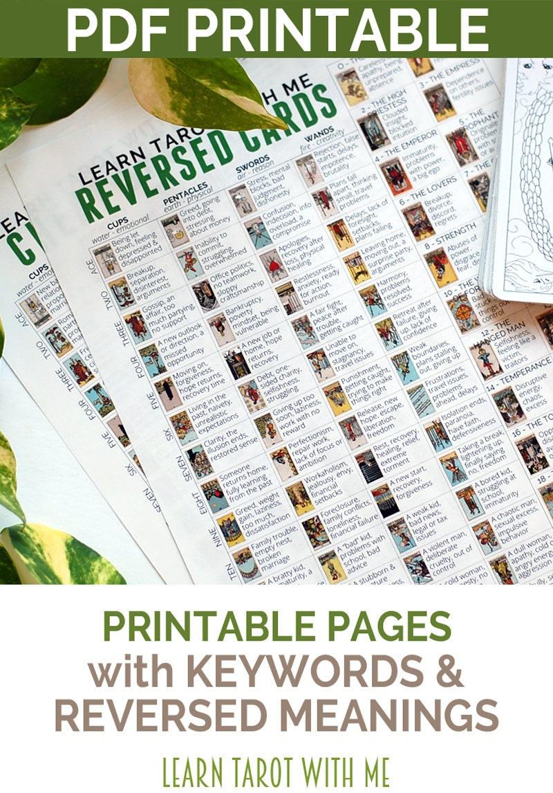 Printable Tarot Deck A Tarot Card Deck And Printable: Tarot Card Cheatsheet Printable PDF With By LearnTarotWithMe