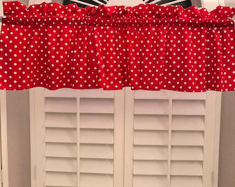Cotton Valance Polka Dots & Spots Small Dot White on Red / Window Decor / Window Treatments