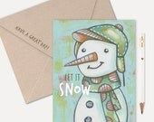 LET IT SNOW Snowman Greeting Card - Christmas Card, Holiday Card, Snowman Note Card, Snowman Notecard, Folk Art, Winter Card