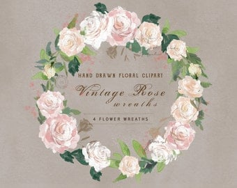Watercolor Flower Wreaths- Vintage Rose. Perfect for a floral wedding invite or greeting card design.