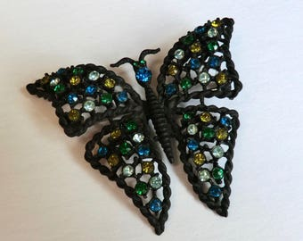 Vintage Butterfly Pin Black Metal Glass Rhinestones Vintage Pin