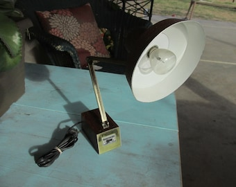 Mid Century Vintage Tensor adjustable Desk Lamp with wooden base and metal shade brown