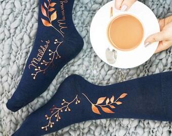Botanical Print - Botanical Print Socks - Personalised Socks - Personalised Botanical Socks