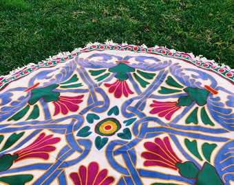 Round Printed Beach + Picnic Blanket with Fringe detail