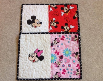 His and Her's Mickey and Minnie Mug Rugs