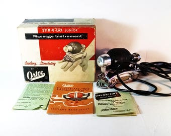 Vintage (1950s-1960s) Oster Stim-U-Lax Junior Electric Massage Instrument Model M-4 in original box with paperwork AND it works.