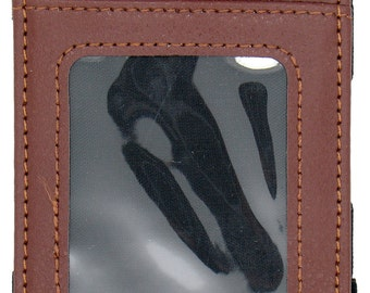 Brown Leather Magic Wallet Credit Card Holder Money Clip With Outside ID Window