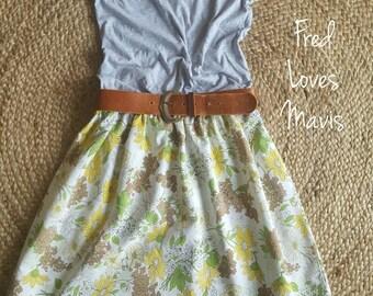 Womens vintage skirt retro skirt sustainable clothing handmade clothing womens clothing floral skirt vintage fabric