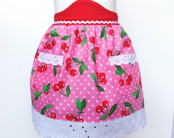 Kid's Cherry Half Apron Country Style