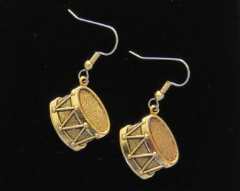 Drum Earrings Drummer Marching Band Snare 24 Karat Gold Plate EG457