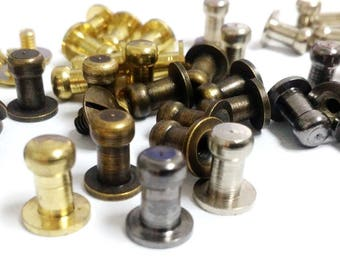 2/ 5 / 10 / 20 or 50 set of 10mm. Head Button Stud Screwback Stud Solid brass Sam Browne / button Studs & Screws Leather Craft 4 colors