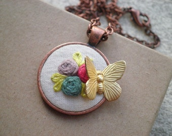Embroidered Flowers Butterfly Necklace - Floral Embroidery Rose Garden Necklace - Textile / Fabric / Fiber Art Rosette + Insect Jewelry Gift