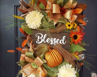 Fall BLESSED door swag