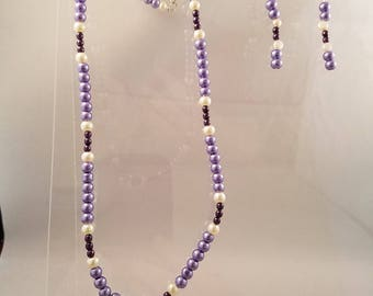 Purple and Cream Glass Pearl Necklace with Heart Pendant, Bracelet and Dangle Earrings