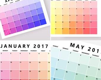 Wall Calendar 2017 Planner, Printable Calendar, Monthly Planner Pages, 2017 Printable Calendars, Monthly Printables, Download SPRING2017GONE