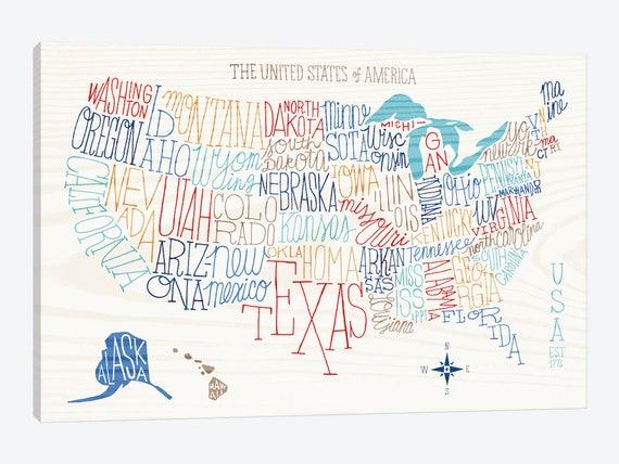united states map art print united states typography poster. Black Bedroom Furniture Sets. Home Design Ideas