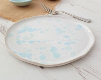 Handmade ceramic dinner plate, mint green, turquoise, serving plate, pottery plate, handmade plate, dinnerware, kitchen, dining