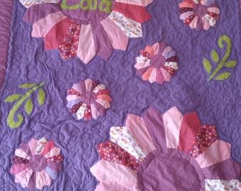 Girl quilt handmade, nursery bedding, patchwork quilt, toddler, new born, baby quilt handmade