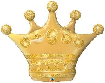 """Gold Crown Balloon 41"""", Princess Crown, Girls Party, Princess Party, Birthday Party, Birthday Balloons, royal, queen, king, tiara, decor,"""
