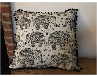 Elephant cushion with pom pom frill