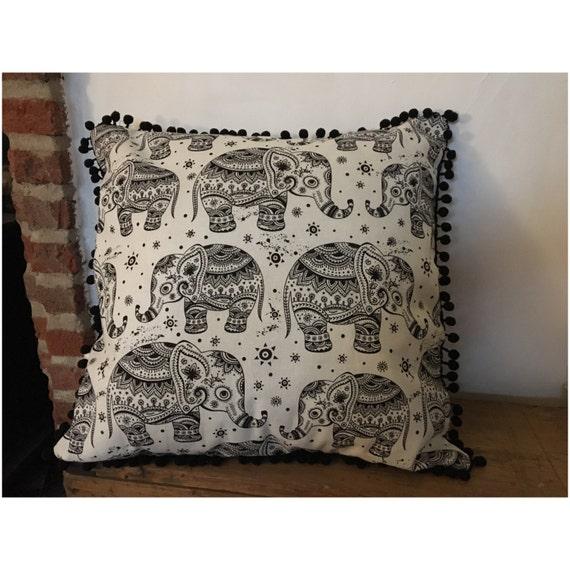Elephant cushion with pom pom frill