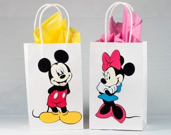 Mickey Mouse and Minnie Mouse Party Bags - Mickey Mouse and Minnie Mouse Birthday Party - Mickey and Minnie Mouse Party - Set of 12 Bags