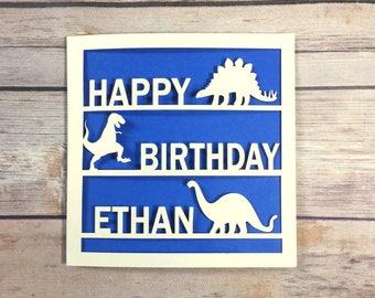Personalised Dinosaur Birthday Card, Dinosaur Gift, Son Birthday Card, Daughter, Dinosaur Fan, Kids Birthday Card, T-Rex, Handmade
