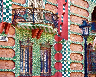Barcelona Spain, Spain Travel Photo, Spanish Architecture, Beautiful House Tiles, Multi Colors, Iron Balcony, Spanish Decor. Art Print