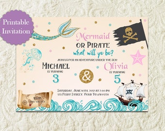 Mermaid And Pirate Sibling Birthday Party Invitation, Under The Sea Sibling Birthday Invitation, Mermaid Pirate Twins Boy Girl Pool Party