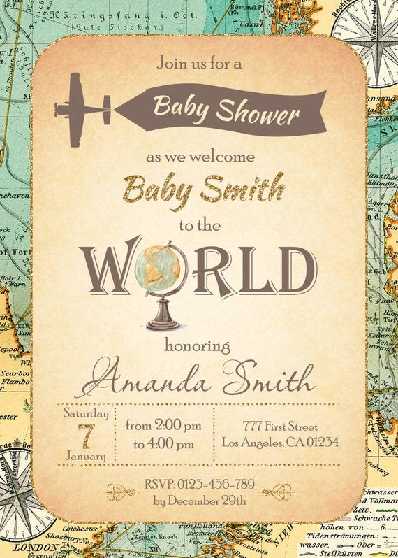 welt-baby-dusche einladung reise-baby-dusche einladung karte, Einladung
