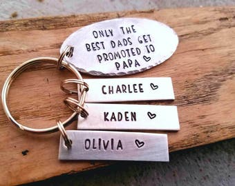 Personalized grandpa keychain. Father's day gift for papa. The best dads get prompted. Hand stamped gift for grandpa. Personalized grandpa