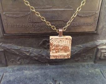 Handmade Vintage Postage Stamp Necklace