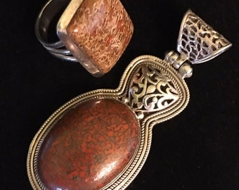 "Indonesian/Balinese Sterling and Fossilized Bone Pendant (2.50"")and Ring(8.75)"
