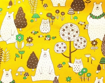 Bear Fabric, Owl Fabric, Canvas Fabric, Cotton Duck,Japanese, Buzoku, Vintage Mustard Yellow, Woodland, Forest Animals, Half Metre