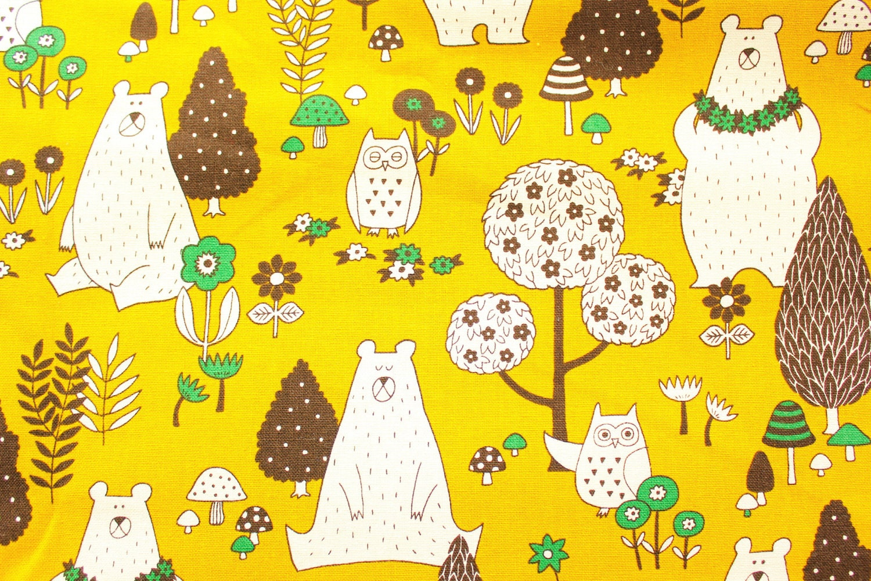Bear Fabric Owl Fabric Canvas Fabric Cotton Duckjapanese