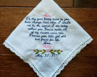 Embroidered wedding handkerchief for mother of the bride or mother of the groom. Great wedding gift for loved one the cherish.