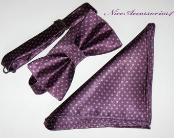 Men's pre-tied  Bow Tie. Plum Purple polka dot design Bow tie for men. Matching Bow Tie + Pocket Square Gift Set.