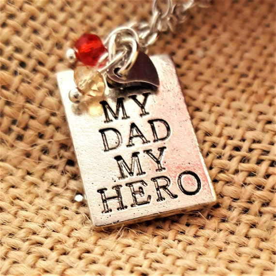 Personalized Gifts for Daughter, Tribute to Father Gift, My Dad My Hero Necklace, Inspirational Remembrance Jewelry, Birthstone Heart Charms